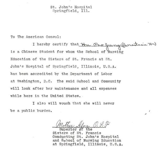 Letter to American Consul regarding Anastasia Hu