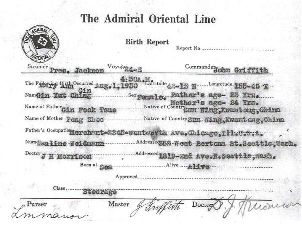 Birth report for Gin Yut Ching