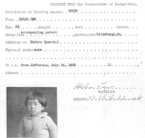 Photo of Helen Lew, age 4-1/2