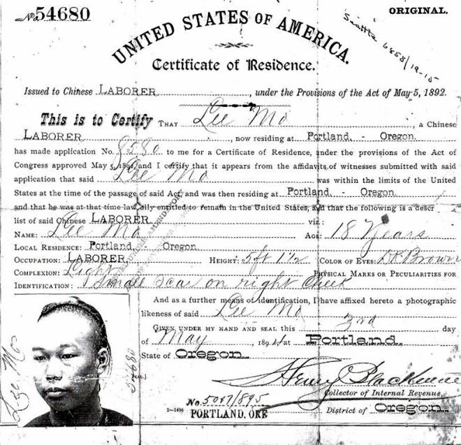 Lee Mo Cert of Residence 1894