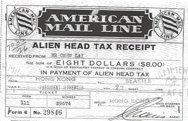 Alien Head Tax Receipt