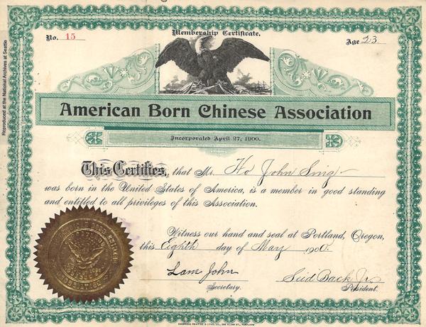 Ho John Sing Membership Certificate,