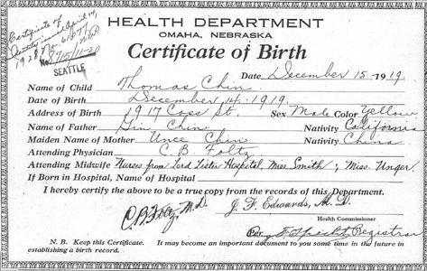 Thomas Chin 1919 Birth Certificate Nebraska 1068_8715 11 20