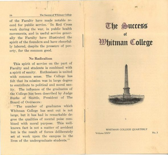 Whitman College brochure1922