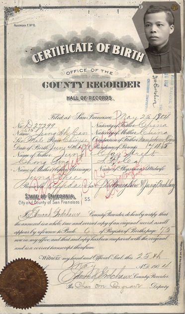 """Certificate of Birth for Jung Ah Can,"" 1904,"