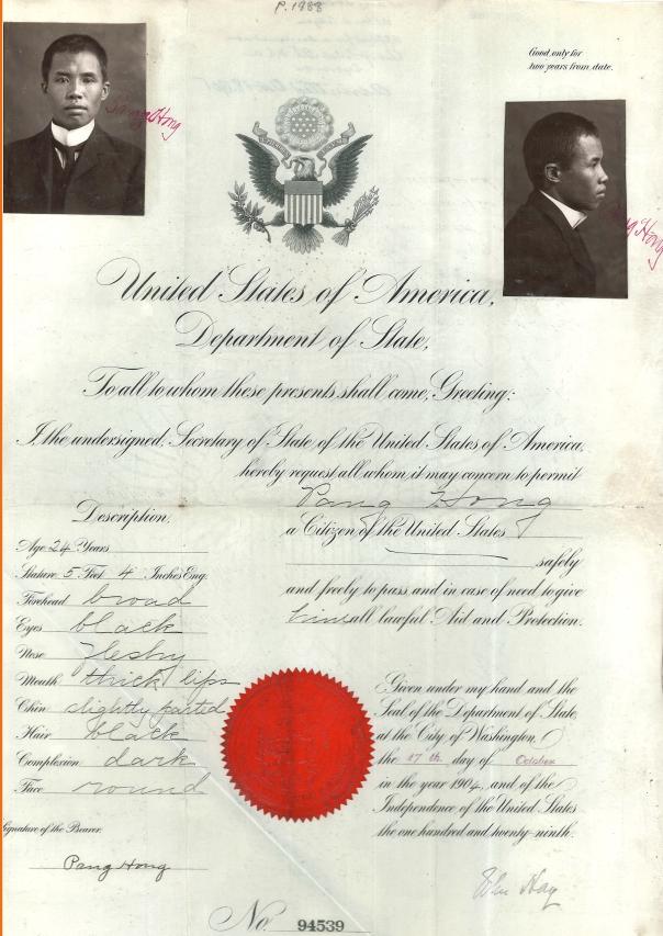 Pang Hong 1904 Passport