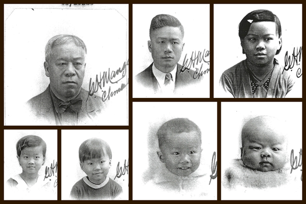 Collage of Wong Ming Bow and family