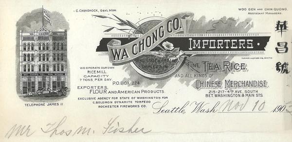 Letterhead Wa Chong Co.