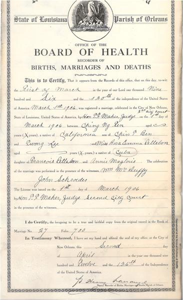 Chin Ng Ten & Rosa Emma Pellebon marriage registration