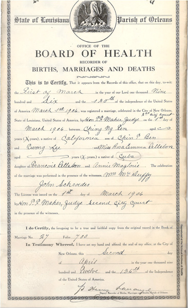 Chin Ng Ten & Rosa Emma Pellebon marriage registration