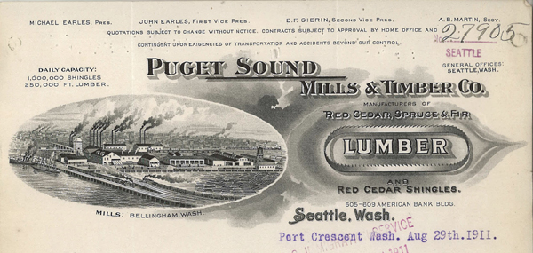 Letterhead from Puget Sound Mills & Lumber Co