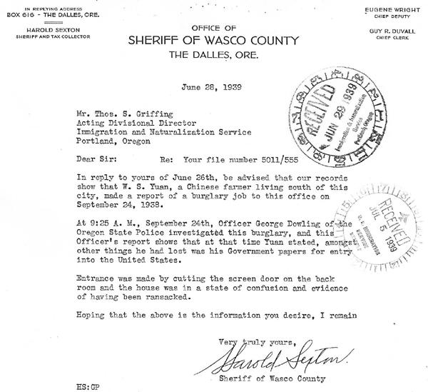Won Suey Yuan Sheriff letter