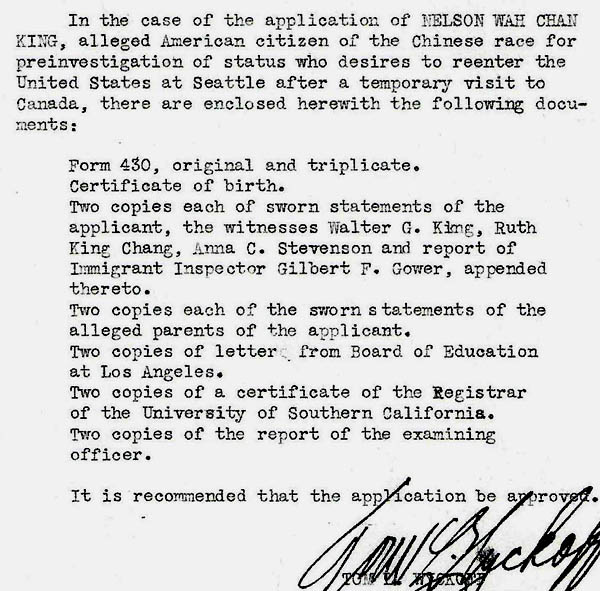 Documents listed in file