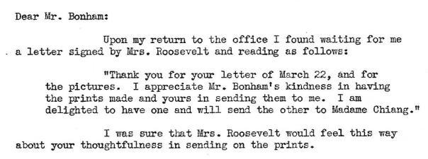 Letter from Harrison to Bonham