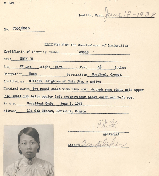 Application For Certificate Of Identity Chinese Exclusion Act Case