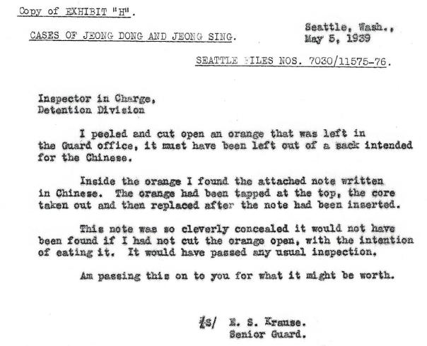 Letter from guard about the orange