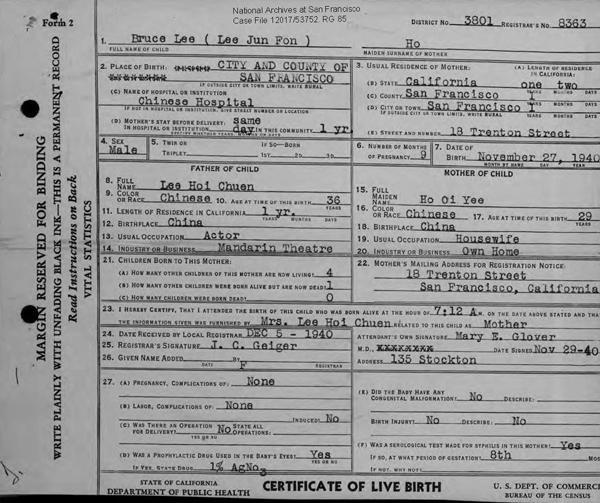 Bruce Lee Birth Certificate