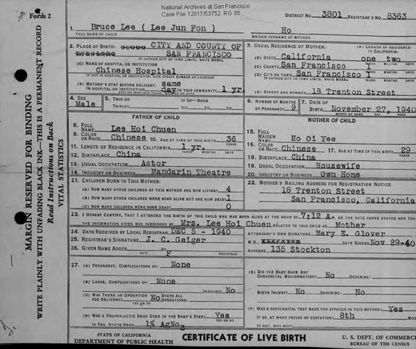 Bruce Lee Birth Certificate