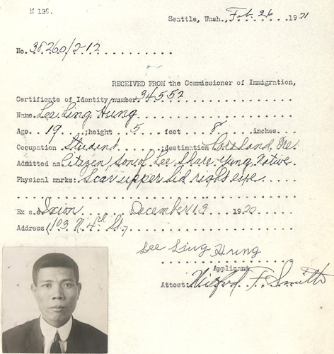Lee Ling Hung CI App 1921