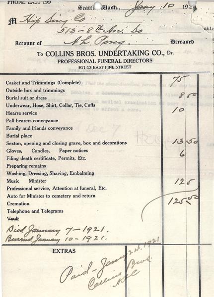 Undertaker's Bill for Look Ah Pong
