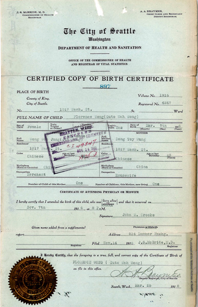 Wong Florence Birth Certificate 1916