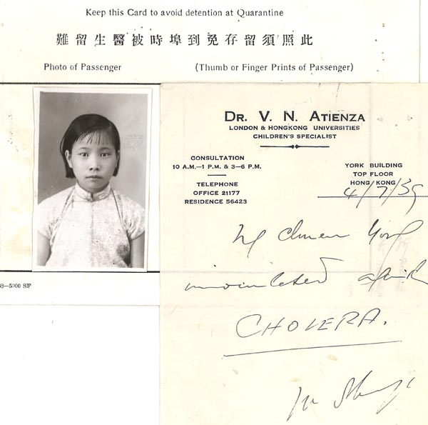 Ng Chuen Yong Medical Card 1939