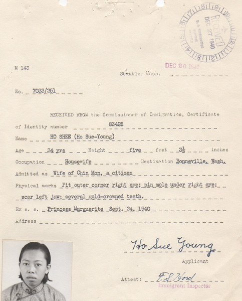 Ho Shee's application for Certificate of Identity