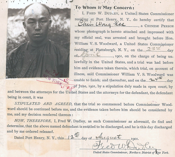 Chin Wong Kee 1901 Discharge Certificate