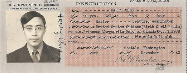 Harry Chinn – Certificate of Identity