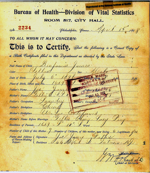 Benjamin James 1898 Birth Certificate