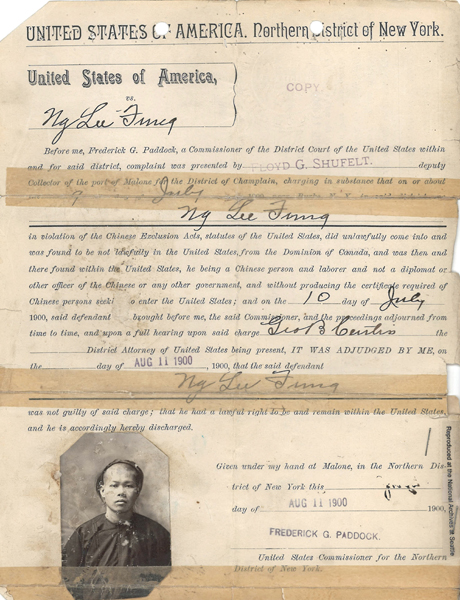 Ng Lee Fung 1900 Discharge Certificate