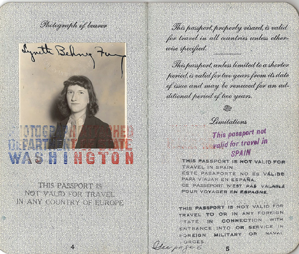 Fung Lynette Behney passport 1939
