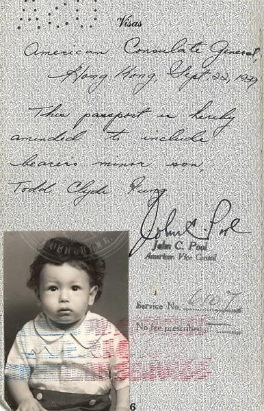 Fung Todd Clyde passport 1939