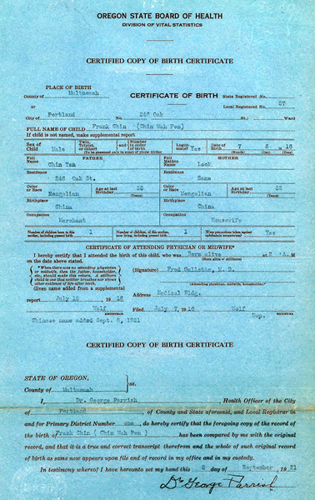 Chin Wah Pon Birth Certificate 1916