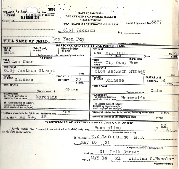 birth ca certificate francisco san