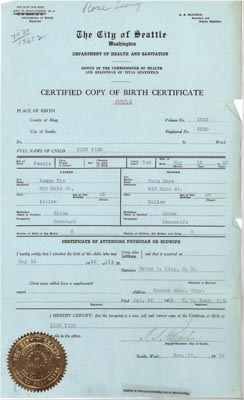 Leong Rose King Ying 1923 Birth Certificate
