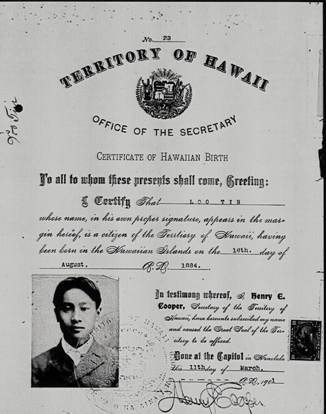 Loo David's father's Hawaii Birth Cert 1894