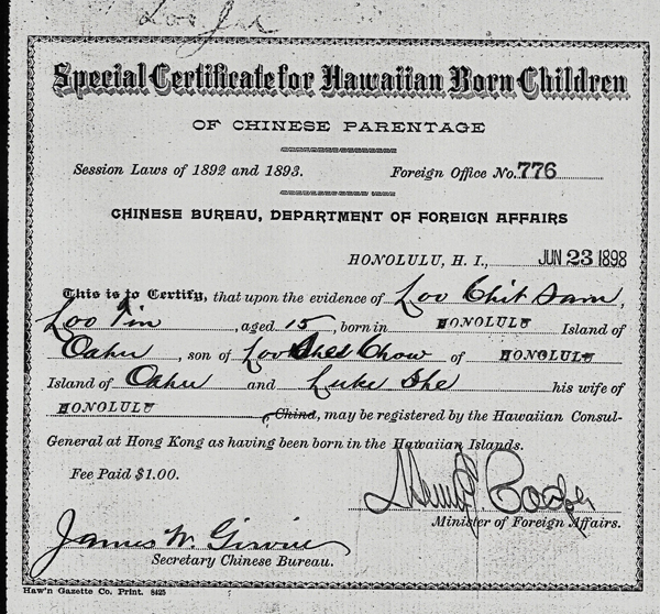 Loo Chit Sam Hawaii Birth Cert 1898