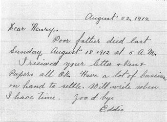 Ar Tick Letter 22 Aug 1912